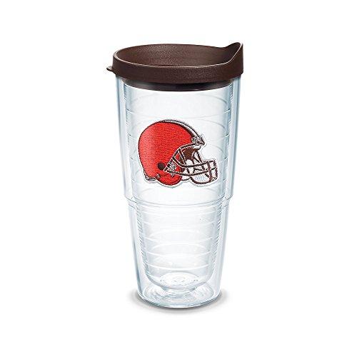Tervis NFL Cleveland Browns Helmet Emblem Tumbler with Brown Travel Lid 24 oz Clear