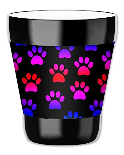 Mugzie 12-Ounce Low Ball Tumbler Drink Cup with Removable Insulated Wetsuit Cover - Paw Prints
