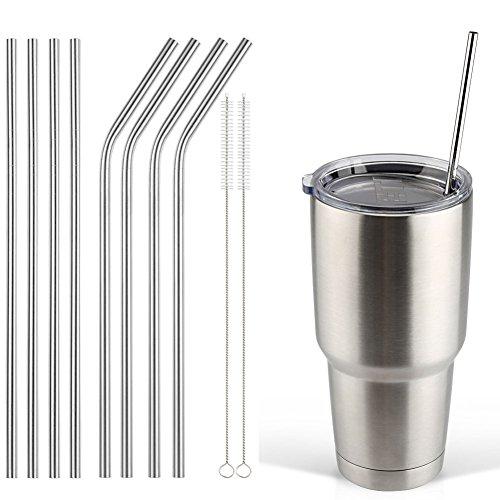 Accmor 188 Stainless Steel Straws Reusable Metal Drinking Straws for 30 20 Oz Yeti Tumbler Rambler Cups 8 FBA