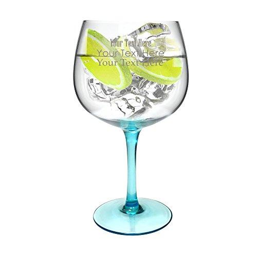 Ginsanity Personalised Blue Stem Copa de Balon Gin Glass - 670ml 19oz Gin Tonic  Wine Balloon Glass  Cocktail