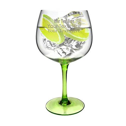 Ginsanity Personalised Green Stem Copa de Balon Gin Glass - 670ml Gin Tonic  Wine Balloon Glass  Cocktail
