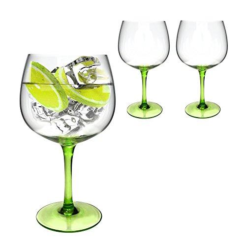 Ginsanity Set of 2 Green Stem Copa de Balon Gin Glass - 670ml Gin Tonic  Wine Balloon Glass  Cocktail