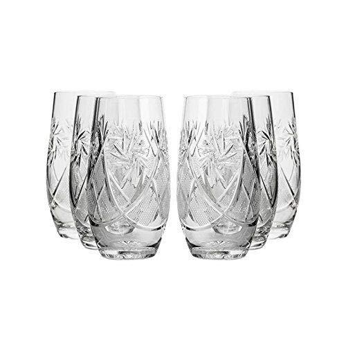 Belarus Crystal GL5108-300-X 10 Oz Crystal Highball Beverage Glasses Hand-Cut Vintage Wedding Gift Glasses Set of 6