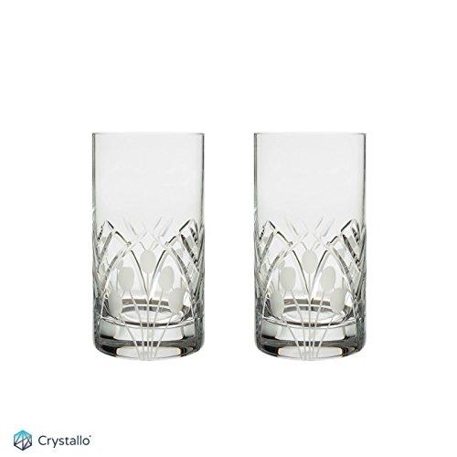 Crystal Highball Glass 12oz Nostalgia Art Deco Pair Gift Boxed