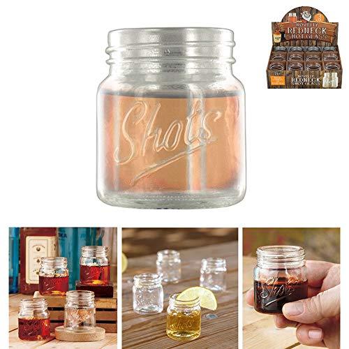 12 Pack Jar Shot Glasses Mini Mason Design 3oz Whiskey Moonshine Party Bar Drink