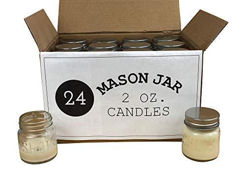 Set of 24 Bulk Wholesale 2 Ounce Mini Mason Jar Shot Glass Candles - Perfect for Weddings Restaurants Gifts Baby Showers