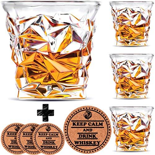 Diamond Whiskey Glasses - Set of 4 - by Vaci  4 Drink Coasters Ultra Clarity Crystal Scotch Glass Malt or Bourbon Glassware Gift Set