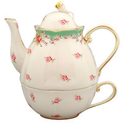 CoastLine Green Vintage Rose 3 Piece Tea for One Stacked Teapot with Lid and Cup FD157G-6