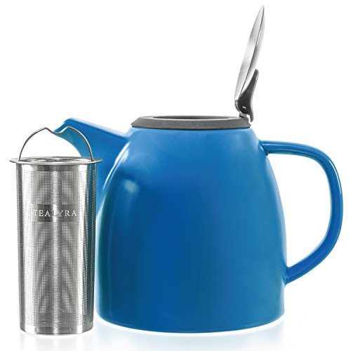 Tealyra - Drago Ceramic Teapot Blue - 37-ounce 4-6 cups - Large Stylish Teapot with Stainless Steel Lid - Extra-Fine Infuser To Brew Loose Leaf Tea - Leed-Free - 1100ml