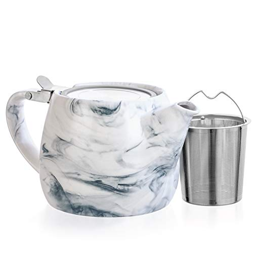 Tealyra - Marble Porcelain Teapot Grey - 22-ounce 2-3 cups - Unique Design - Extra-Fine Infuser and Stainless Steel Lid - Infuse Loose Leaf Tea or Bags - 650ml