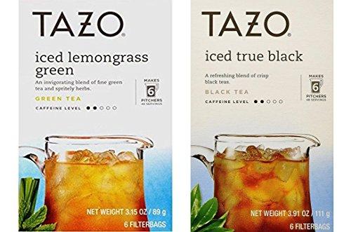 Tazo Iced Tea Pitcher Bag 2 Flavor Variety Bundle 1 Tazo Iced Lemongrass Green and 1 Tazo Iced Black Tea 6-Count Each