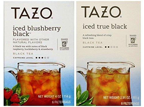 Tazo Iced Tea Pitcher Bag Black Teas 2 Flavor Variety Bundle 1 Tazo Iced Blushberry Black Tea and 1 Tazo Iced Black Tea 391-4 Oz Ea