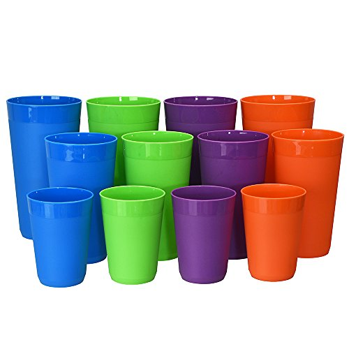 12pc Newport Unbreakable Plastic Cup Tumblers in 4 Tropical Colors four 10oz juice four 20oz water and four 32oz iced tea