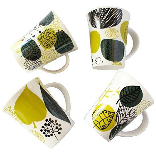 Leaf Design Coffee Mug Set 12 Ounce Porcelain Tea Milk Juice Cup Set of 4