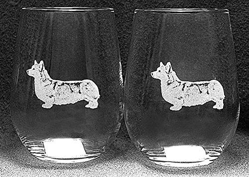 Pembroke Corgi Dog Laser Etched White Wine Juice Glass Set 2 SWW