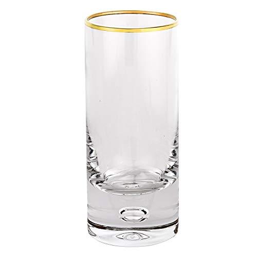 D Galaxy 6-pc Gold Rim Shot Glass 25 Oz H3 Crystal Glass For Vodka