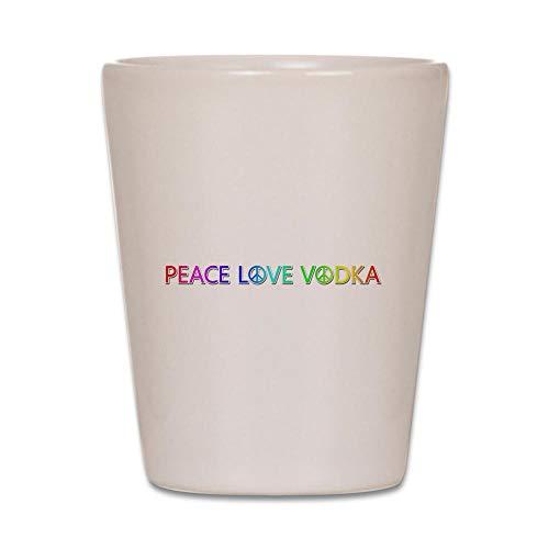 CafePress Peace Love Vodka Shot Glass Unique and Funny Shot Glass