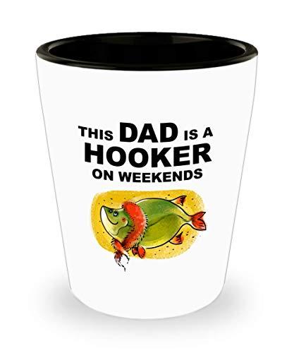 Ceramic Shot Glass 15 Oz for Vodka Whiskey Espresso Funny Dad Fishing Gift