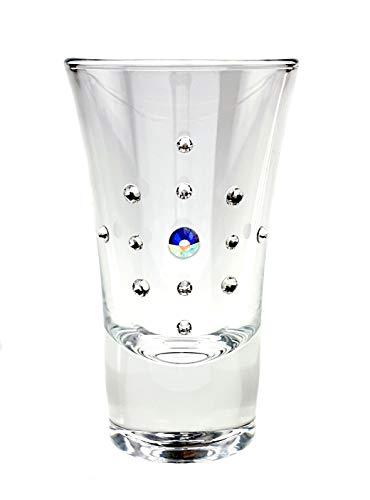 Popov 52194-854 Swarovski Jeweled Vodka Shot Glasses Crystal Tequila Glasses 2 Oz Liquor Glasses wRhinestones Set of 6