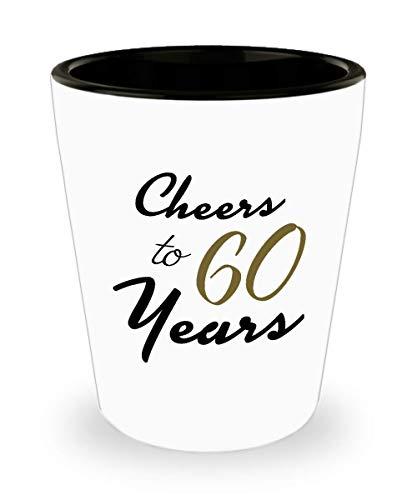 60th Birthday Shot Glass - Happy Birthday Gifts for 60 Year Old Women - Unique Espresso Coffee Shot Glass for Nana Grandma Grandmother Mom Aunt