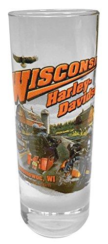 Harley-Davidson Wisconsin Harley-Davidson Dealer Tall Shot Glass Clear CSHOT