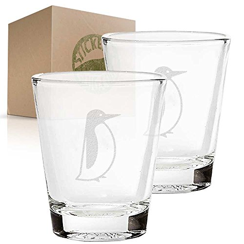Penguin etched glass shot glass set of two etch shot glasses for bar