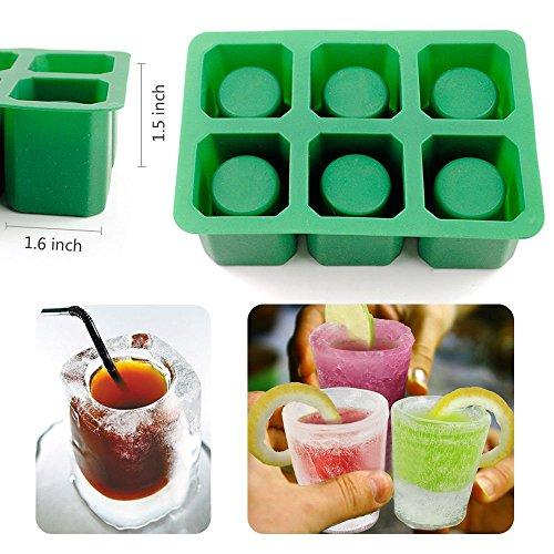 AYAMAYA 2Pack 6 Cavity Ice Shot Glass Mold Non-stick Silicone Ice Cube Tray Maker