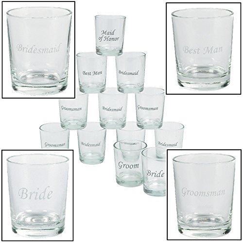 Etched Wedding Party Shot Glasses 12 Pieces 1 oz 2