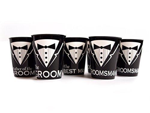 Express Novelties Online Bachelor Party Supplies Groom Best Man Groomsmen Father of The Groom- 6 Shot Glasses