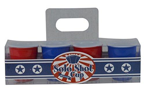 Fairly Odd Novelties Red Blue Redneck Party Shot Glasses 2oz Hard Plastic Melamine Cups 4-Pack