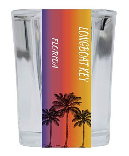 Longboat Key Florida 2 Ounce Square Shot Glass Palm Tree Design 4-Pack