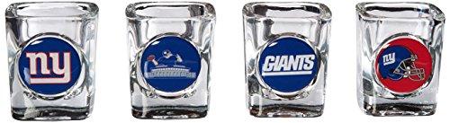 NFL New York Giants Four Piece Square Shot Glass Set Individual Logos