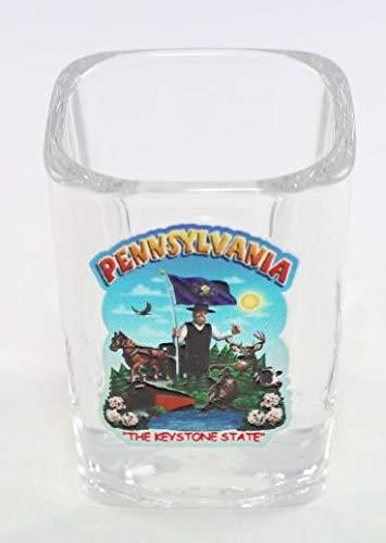 Pennsylvania State Montage Square Shot Glass