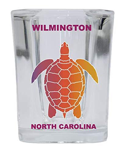 WILMINGTON North Carolina Square Shot Glass Rainbow Turtle Design