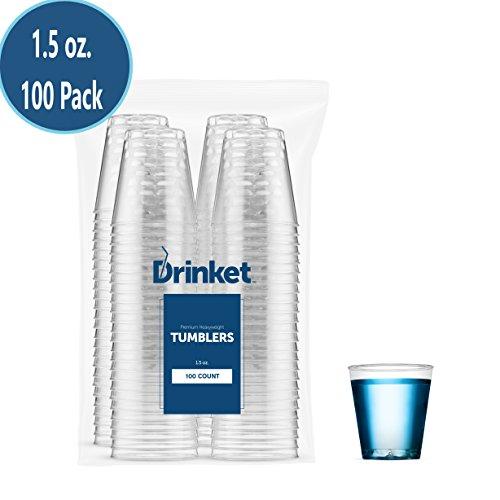 DRINKET CLEAR PLASTIC SHOT GLASSES 15 Oz - Disposable Shot Glasses Bulk - Wine Tasting Cups - Small Plastic Tumbler - Shooter Whiskey Mini Shot Cups – Hard small plastic cups bulk - 100 Pack