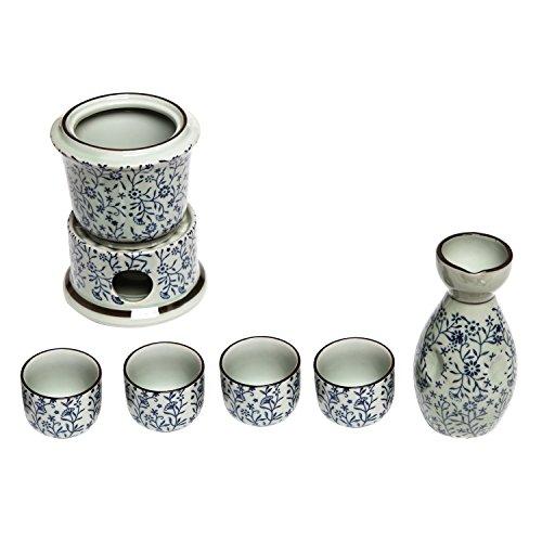 Exquisite Ceramic Blue Flowers Japanese Sake Set w 4 Shot Glass  Cups Serving Carafe Warmer Bowl
