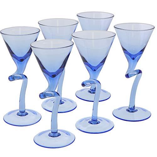 Stem Martini Glasses Shot Glass 1 oz - 6 Blue