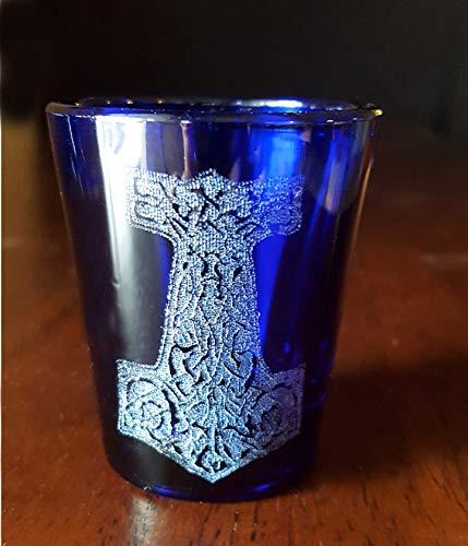 Thors Hammer Mjolnir Shot Glass Cobalt Blue - Free Personalized Engraving