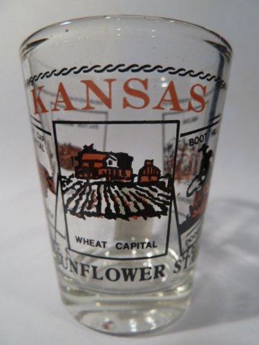 Kansas Scenery Red Shot Glass