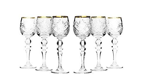 Set of 6 Neman Glassworks 2-Oz Gold Rim Vintage Russian Crystal Shot Glasses