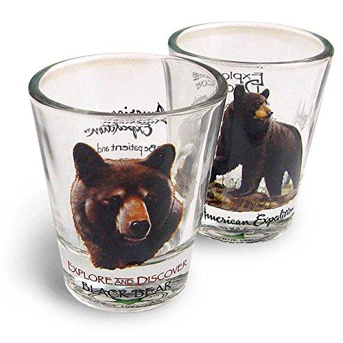 American Expedition Set of 2 Shot Glasses Black Bear