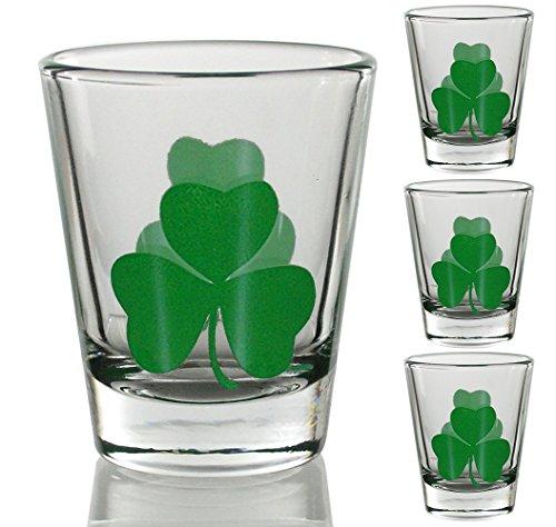 Irish Shot Glasses with Green Shamrocks Set of 4 St Patricks Day Gift