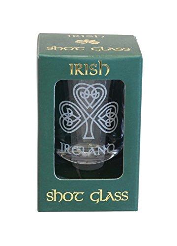 Single Shamrock Irish Crystal Shot Glass by Shamrock Gift