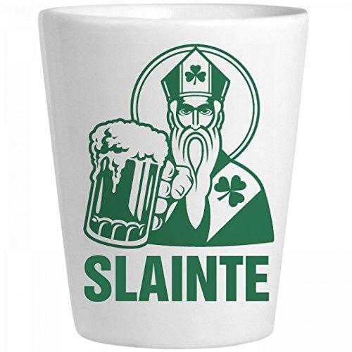 Slainte Irish Shot Glass St Pat Ceramic Shot Glass