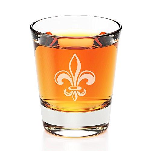 Fleur De Lis Engraved Fluted Shot Glass