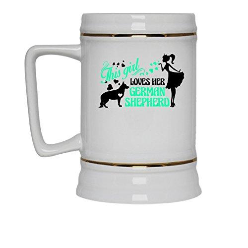 German Shepherd Mug Coffee Ceramic German Shepherd Travel Mugs White Beer Stein Mug For You And Family White Beer Stein