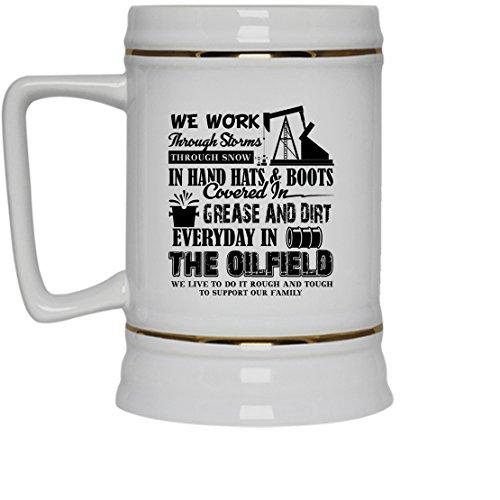Oilfield White Beer Mug - Oilfield Beer Stein Ceramic Cool Design Gift For Friend Family White Beer Stein