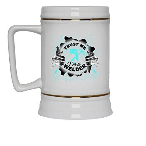 Welder White Beer Mug - Welder Beer Stein Ceramic Cool Design Gift For Friend Family White Beer Stein