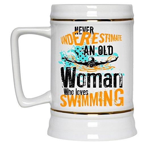 Cool Grandma Beer Stein 22oz An Old Woman Loves Swimming Beer Mug Beer Mug-White