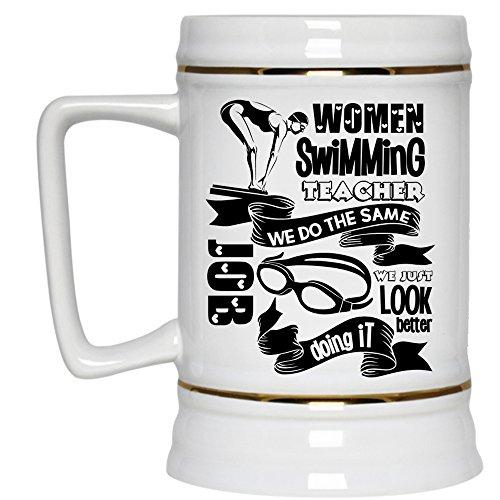 Cute Gift For Swimming Teacher Beer Stein 22oz Women Swimming Teacher Beer Mug Beer Mug-White
